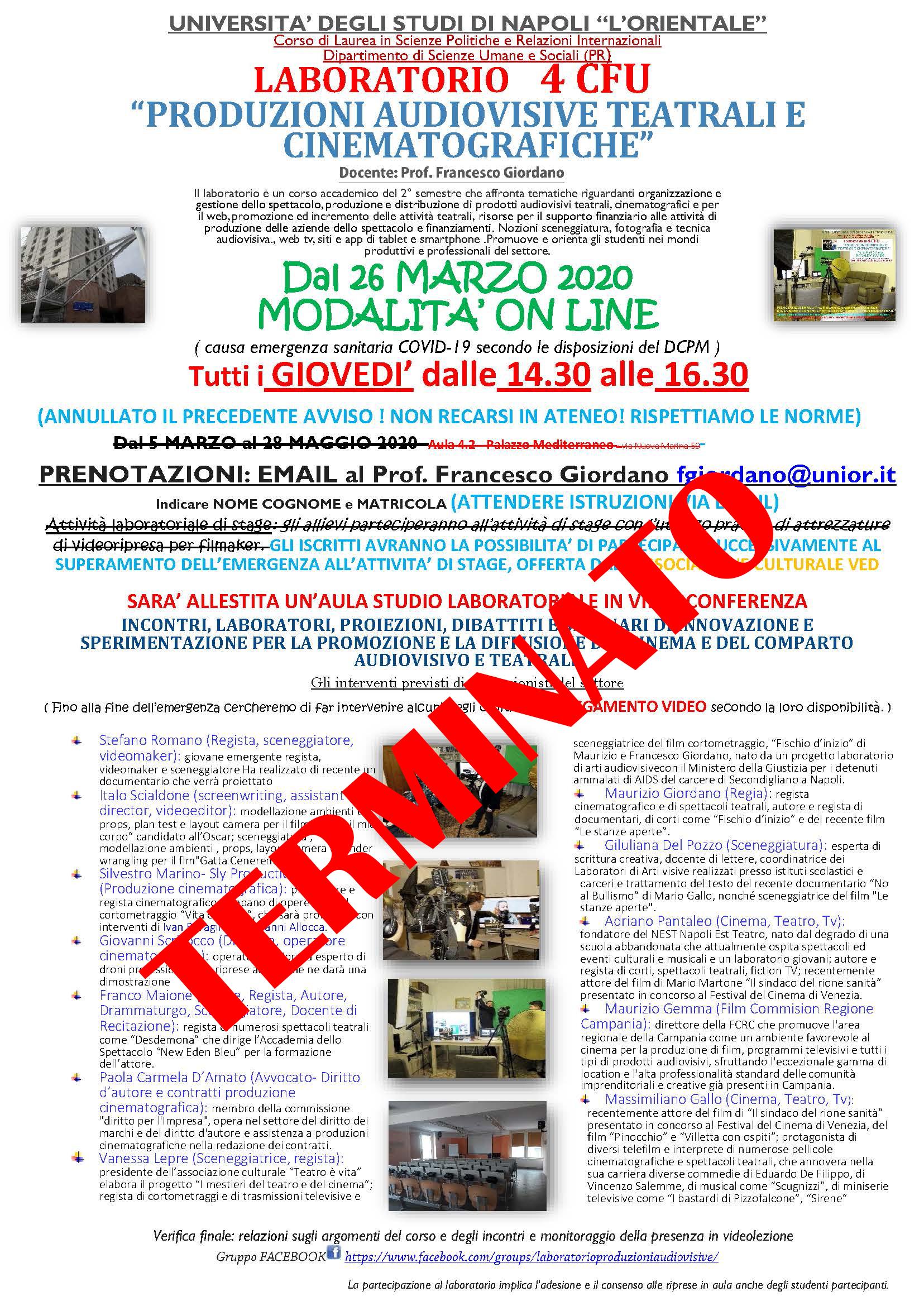 LABORATORIO DI PRODUZIONI AUDIOVISIVE, TEATRALI E CINEMATOGRAFICHE  - Prof. Francesco Giordano